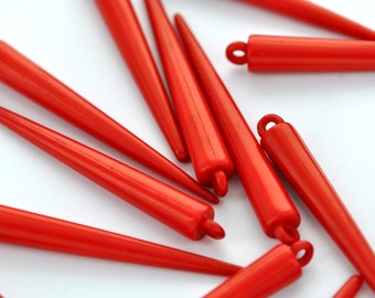 12 Red Acrylic Spikes for Hoop Earrings . Large . 53mm . cha0078
