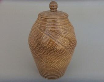 Ceramic Lidded Jar -Large Handmade Carved Pottery - Honey Colored