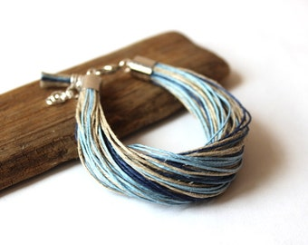 Nautical Linen Bracelet / Blue Bracelet / Gift for Her / Gift for Wife / Eco Stye Jewelry / Boho Bracelet