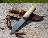 Antiqued Hand Forged Knife: 1084/brass/maple