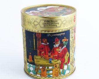 SALE!  Vintage E OTTO SCHMIDT Tin / Lebkuchen Tin / Cookie-Biscuit Tin / Embossed German Tin / Germany / 1984 / Nurnberger