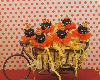 Halloween Black Cats Cupcake Toppers