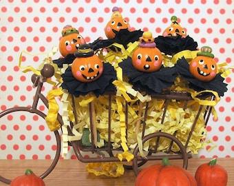 Happy Halloween Pumpkins Cupcake Toppers