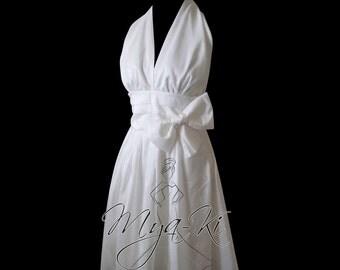 Halter Bow waist T-Length Bridal Gown (Custom Order MKB62)