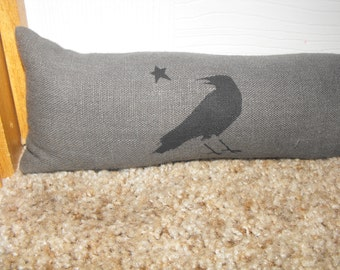 Door Draft Stopper, Charcoal gray, Window Draft Stopper, Choice of Stencil, CUSTOM LENGTH, Velcro Fastening