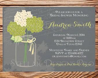 Bridal Shower Invitation,Hydrangea Mason Jar, Vintage Mason Jar Invitation,Green, Purple, Mason Jar, Hydrangea, Wedding Shower, 5109