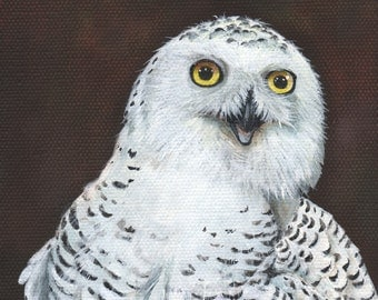 Owl Painting on Stretched Canvas ORIGINAL PAINTING 5' by 7""