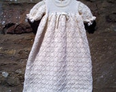 "Hand knitted vintage style baby christening, baptism, confirmation gown / robe in cream. 16"" chest 0 - 3 months approx"