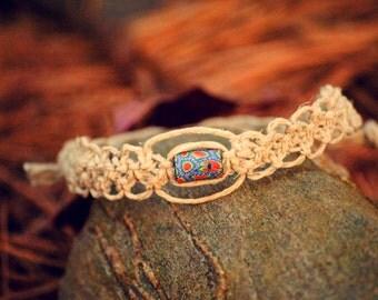 Beautifully Woven Hemp Bracelet with Clay Bead