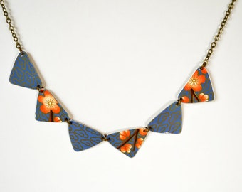 Earth Friendly Repurposed Vintage Tin Geometric Periwinkle Floral Necklace
