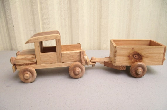 Wooden Toy Trucks : Eco friendy wooden toy truck with trailer for children