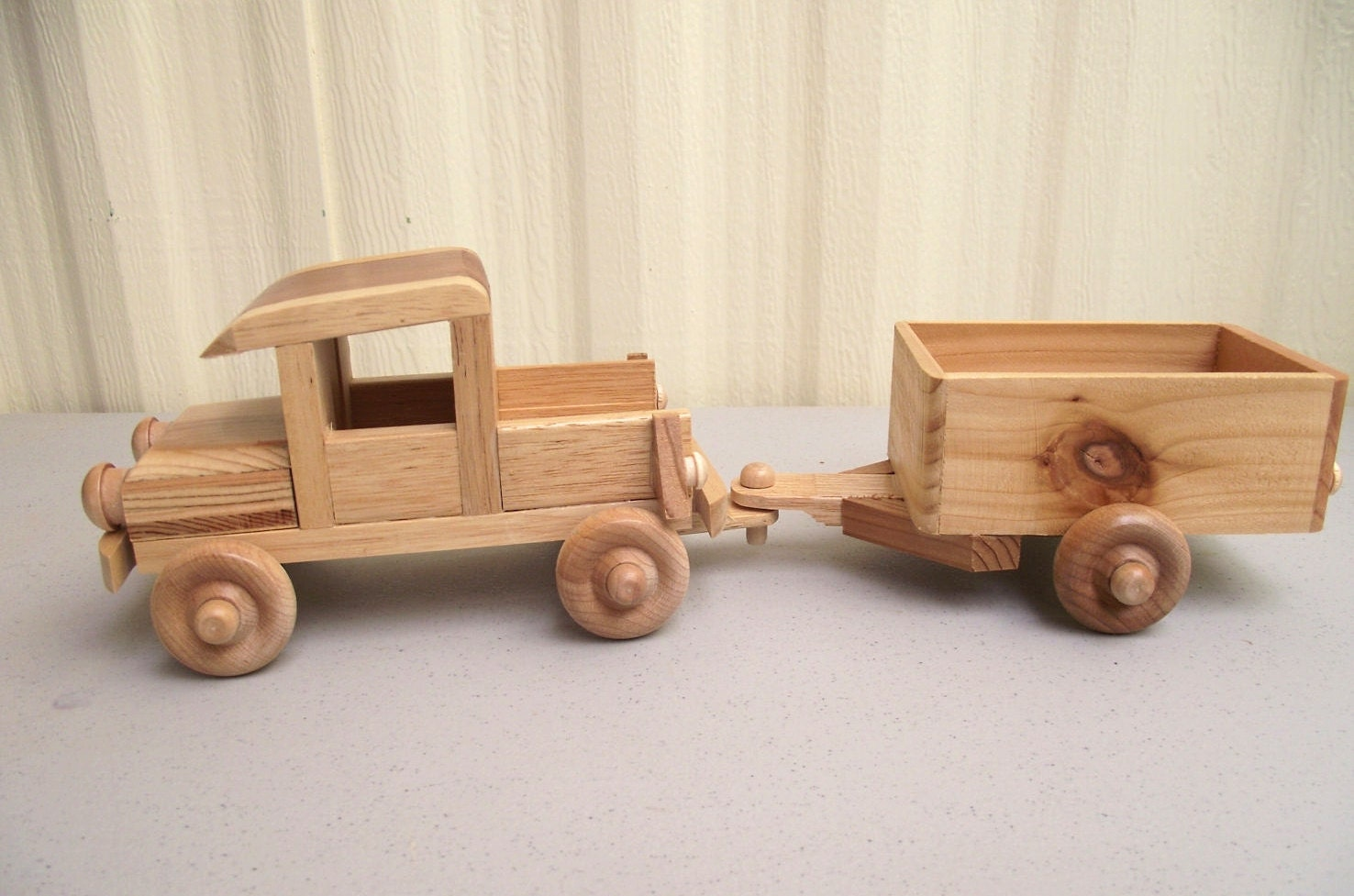 Wooden Toy Cars And Trucks : Eco friendy wooden toy truck with trailer for children