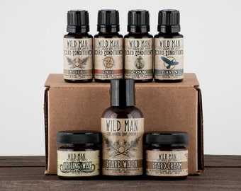 Mens Beard Grooming Gift Set - WILD MAN Luxury Beard Care Sampler For Him