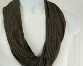 Infinity Scarf for Men Brown Striped Single Loop Jersey Knit Scarf for Men and Women