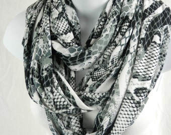 Snake Skin Infinity Scarf Black White Grey Extra Long and Full Triple Loop Jersey Knit Scarf by Thimbledoodle