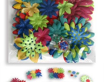 fabric flowers - Daisy Value Pack 50 pieces - primary - 1275-705 - red green yellow blue