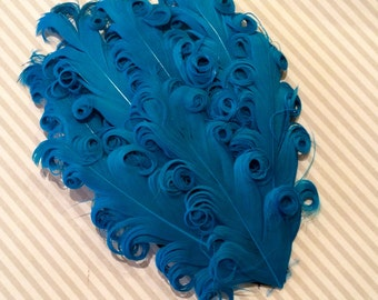 Curly Feather Pad - Turquoise Blue   FP244 - (1 piece)