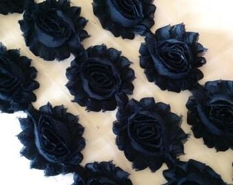 "Navy Shabby Rose Trim 2.5"" Shabby Flowers Shabby Chiffon Flowers - Solid Shabby Chic Trim Wholesale Rosette trim 6cm 1 yard - #611"