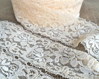 "Ivory Cream Lace Elastic 2.5"" Lace Stretch Elastic 6cm wide elastic trim - baby headband lace  garter lingerie  elasttic 3, 5, OR 10 yards"