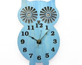 Wall Clock  Modern Wooden Owl Silhouette Home Decor  with Sky Blue  Finish
