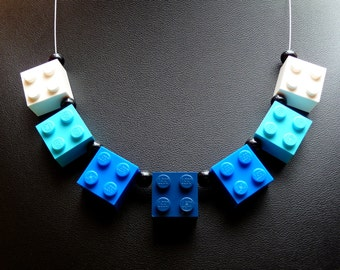 Upcycling Necklace BLUE & TURQUOISE - Happy Jewelry - Handmade Necklace - Upcycling Jewelry - Geekery - Eyecatcher - Bright Colourful funny