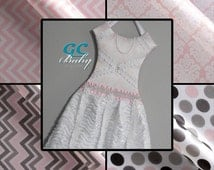 CUSTOM Chic Princess Hair Clip Holder Dress - Pink Chevron, Polka Dot, Damask, Girls Bow Organizer, Scalloped Ruffle Skirt, Rhinestone Belt