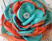 Aqua and orange satin flower,  nemo inspired hair bow, satin flower, flower hair accessory, singed flower, flower headband
