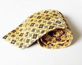 Vintage Neck Tie- Yellow Neck Tie Men's Accessories Gift for Him