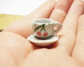1 pc cup and scalloped saucer cherries dollhouse miniatures supply deco