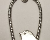 CLEARANCE antique silver bird in swing charm
