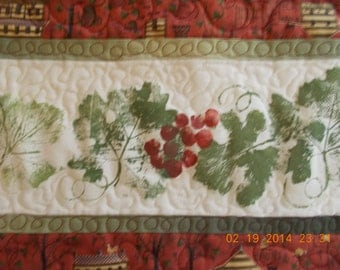 quilted painted red grapes table runner