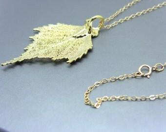 24Kt Gold Plated Birch Leaf Necklace