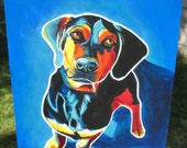 Doxle, Doxle Art, DawgArt, Dog Art, Colorful Dog Art, Original Painting, Doxle Painting, Blue Dog Art