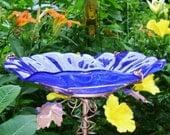 BIRD BATH, Stained Glass, Cobalt BLUE, Copper, Home Decor, Garden Art, Bird Feeder, Garden Suncatchercatcher