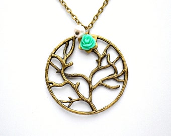 Gift for girlfriend Tree of life necklace tree necklace pendant Beadwork Birthstone Eco Friendly Lariat Pendant Personalized Statement