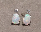 Australian Opal Earrings - Colorful Genuine Opal Studs - Sterling Silver Posts