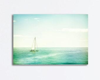 "Sailboat Canvas Wrap - beach photography canvas print ocean sea seascape mint green nautical teal aqua white print, ""My Home is the Sea"""