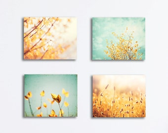 Nature Canvas Print Set - yellow mint teal aqua gold photography turquoise light floral canvas gallery wrap botanical wall art set canvas