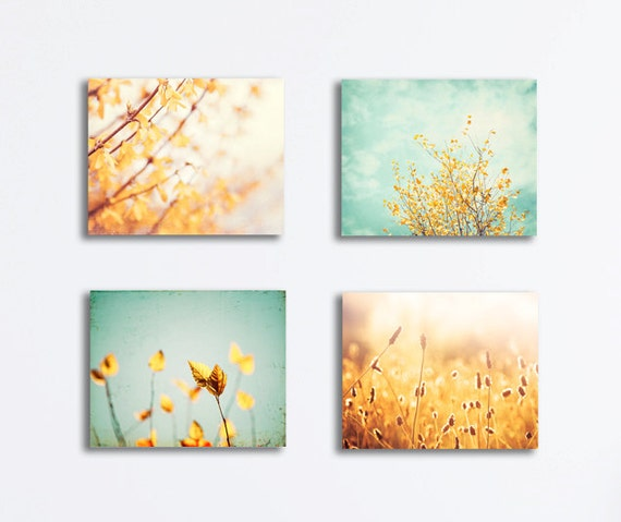 nature canvas print set yellow mint teal aqua gold. Black Bedroom Furniture Sets. Home Design Ideas