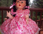 Valentines Day pink color dress for 22''-24'' tall dolls; saucy walker or Shirley Temple dolls (free shipping in the U.S. A.