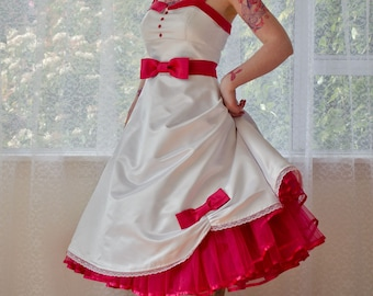 1950s 'Jacqueline' Rockabilly Wedding Dress with Bodice Lapels, Bow Belt, Tea Length Skirt & Organza Petticoat and Sash - custom made to fit