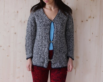 Vintage 80's  Wool Sweater folk Cardigan norwegian sweater