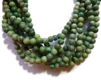 Shades of Green Agate - 6mm Round Bead - 68 beads - Full Strand