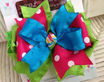 Mommy's bff bow and headband-- ruffle ribbon bow in turquoise, lime and hot pink -- headband option