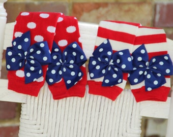 Baby Girl Leg Warmers -- Bow Leg Warmers -- July 4th - Red, white and blue striped or polka dot - Newborn or regular size