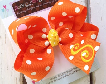 Candy Corn Bow with Headband option -- large Orange and white polka dot bow with yellow initial -- monogrammed bow for Fall