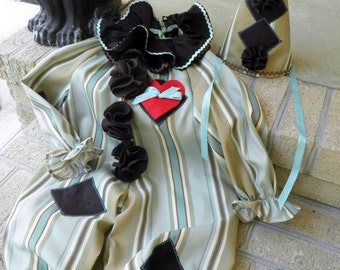 Clown Costume Halloween Toddler Boys or Girls Handmade OOAK Size 2 to 4 Aqua Brown