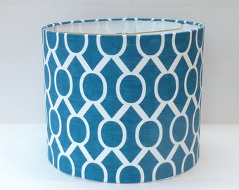 Medium Drum Lamp Shade in Turquoise Blue and White Chain Pattern Fabric