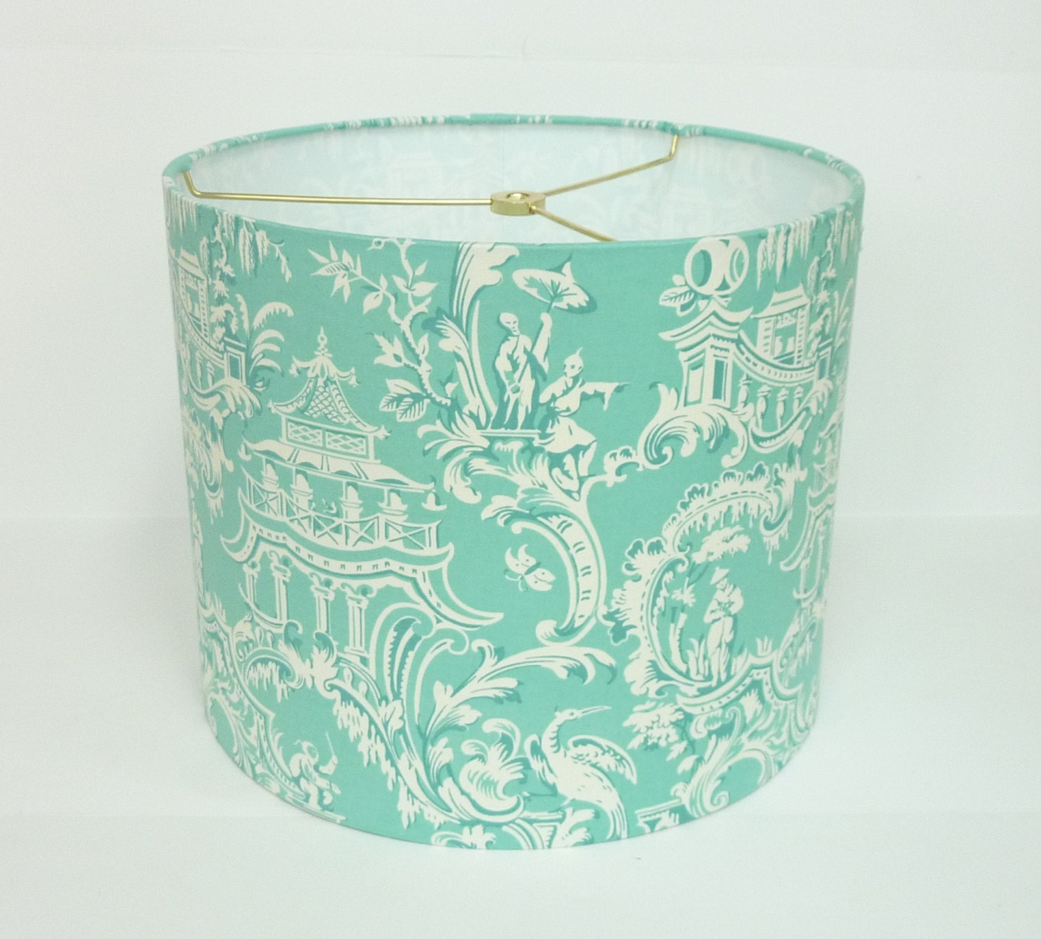 aqua chinoiserie lamp shade by lampshadedesigns on etsy. Black Bedroom Furniture Sets. Home Design Ideas