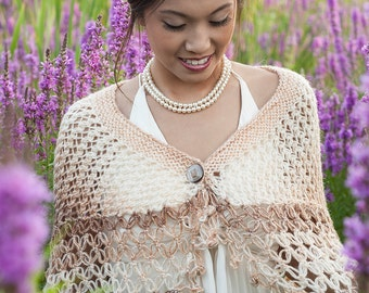 Beige Bridal Shawl - Brown Mohair Bridal Shawl - Beige Bridal Capelet - Brown Multicolor Knitting Capelet